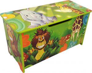 Houten gekleurde speelgoedkist Jungle - Opbergkist